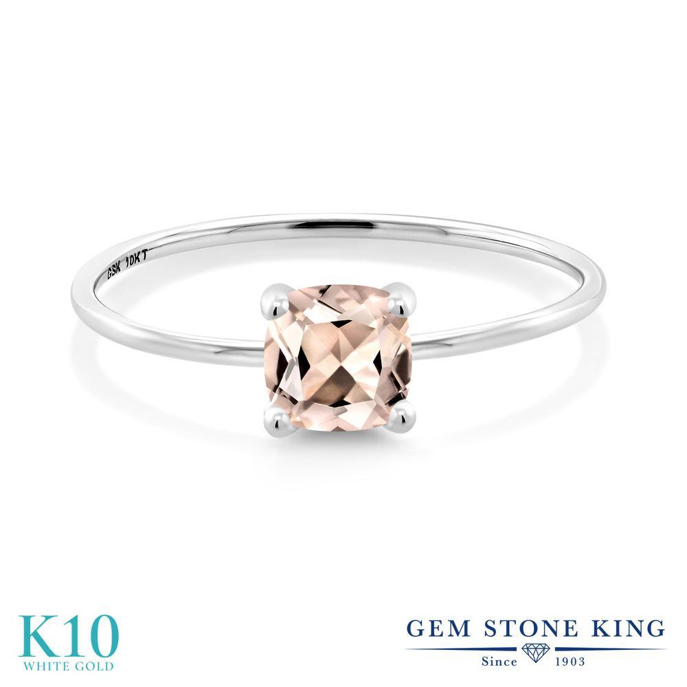 Gem Stone King 0.82カラット 天然 モルガナイト (ピーチ) 10金 ホワイトゴールド(K10) 指輪 リング レディース 一粒 シンプル ソリティア 天然石 3月 誕生石 金属アレルギー対応 誕生日プレゼント