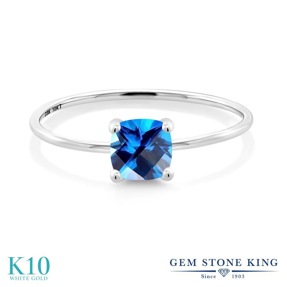 【10%OFF】 Gem Stone King 1カラット 天然石 カシミアブルートパーズ (スワロフスキー 天然石) 指輪 リング レディース 10金 ホワイトゴールド K10 大粒 一粒 シンプル ソリティア クリスマスプレゼント 女性 彼女 妻 誕生日