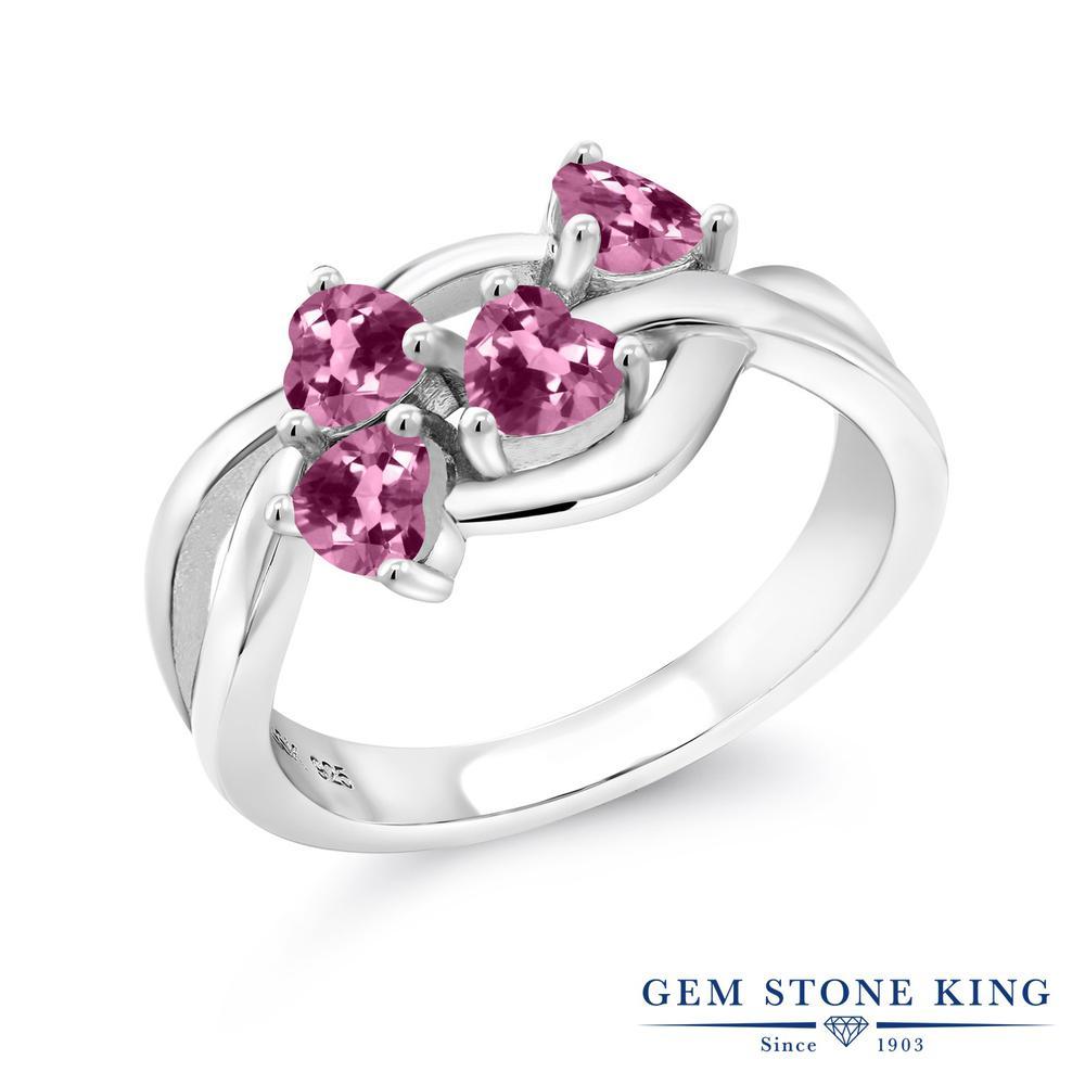 Gem Stone King 0.92カラット 天然 ピンクトルマリン シルバー925 指輪 リング レディース 小粒 カレッジリング 天然石 10月 誕生石 金属アレルギー対応 誕生日プレゼント