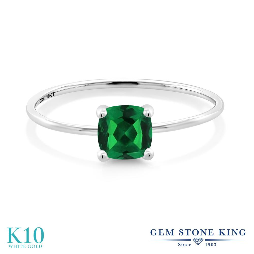 Gem Stone King 1カラット ナノエメラルド 10金 ホワイトゴールド(K10) 指輪 リング レディース 大粒 一粒 シンプル ソリティア 金属アレルギー対応 誕生日プレゼント