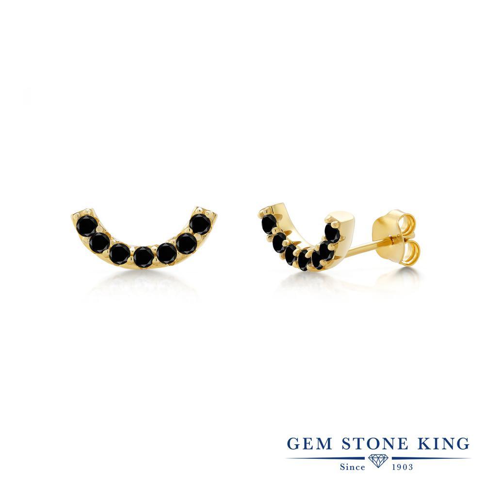 Gem Stone King 0.46カラット 天然ブラックダイヤモンド シルバー925 イエローゴールドコーティング ピアス レディース ブラック ダイヤ 小粒 スタッド 天然石 4月 誕生石 金属アレルギー対応 誕生日プレゼント