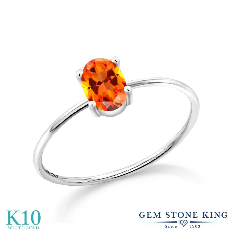 1カラット 天然石 トパーズ ポピー (スワロフスキー 天然石) 指輪 レディース リング 10金 ホワイトゴールド K10 ブランド おしゃれ 一粒 大粒 シンプル 極細 ソリティア 婚約指輪 エンゲージリング