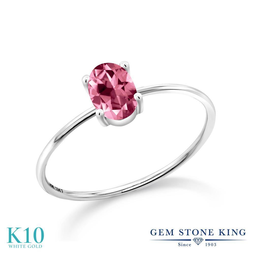 1カラット 天然石 ピンクトパーズ (スワロフスキー 天然石) 指輪 レディース リング 10金 ホワイトゴールド K10 ブランド おしゃれ 一粒 大粒 シンプル 極細 ソリティア 婚約指輪 エンゲージリング