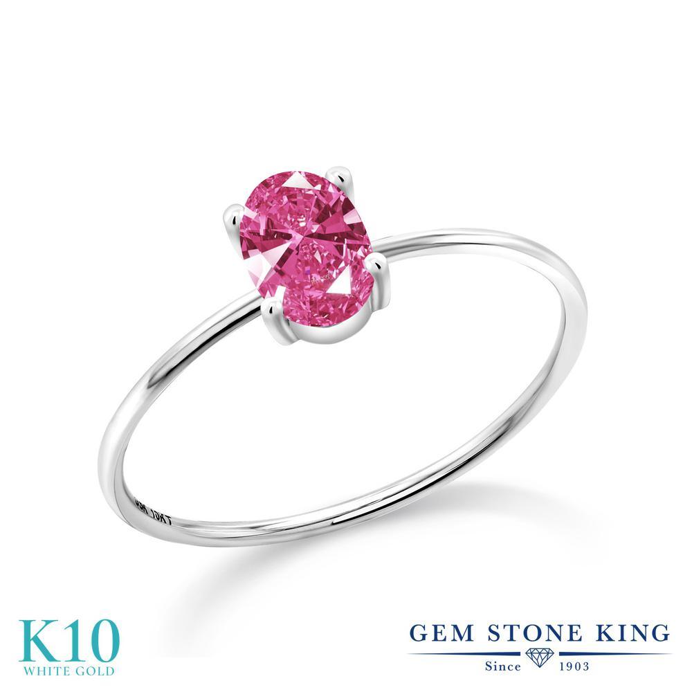 スワロフスキージルコニア (ピンク) 指輪 レディース リング 10金 ホワイトゴールド K10 ブランド おしゃれ 一粒 CZ シンプル 極細 ソリティア 金属アレルギー対応