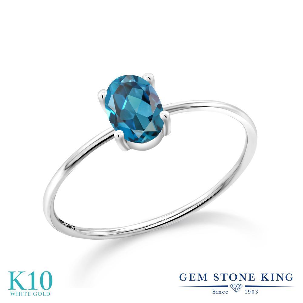 Gem Stone King 1カラット 天然 ロンドンブルートパーズ 10金 ホワイトゴールド(K10) 指輪 リング レディース 大粒 一粒 シンプル ソリティア 天然石 11月 誕生石 金属アレルギー対応 誕生日プレゼント