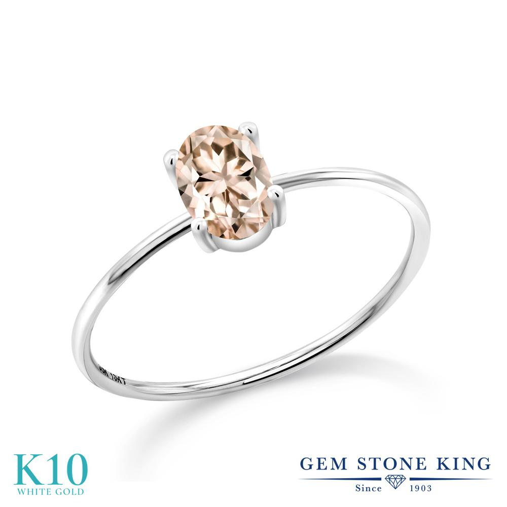 【10%OFF】 Gem Stone King 0.65カラット 天然 モルガナイト (ピーチ) 指輪 リング レディース 10金 ホワイトゴールド K10 一粒 シンプル ソリティア 天然石 3月 誕生石 婚約指輪 エンゲージリング