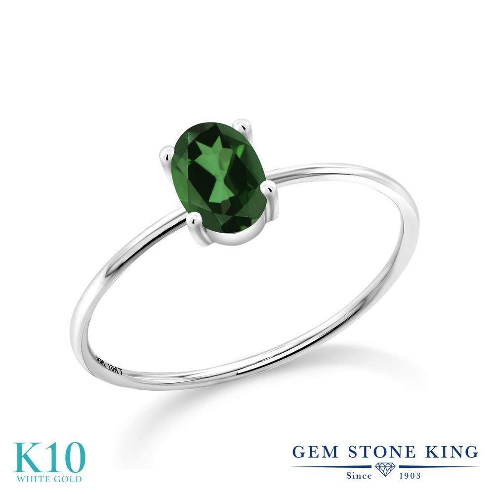 0.8カラット 天然石 ミスティックトパーズ (エメラルドグリーン) 指輪 レディース リング 10金 ホワイトゴールド K10 ブランド おしゃれ 一粒 シンプル 極細 ソリティア 金属アレルギー対応