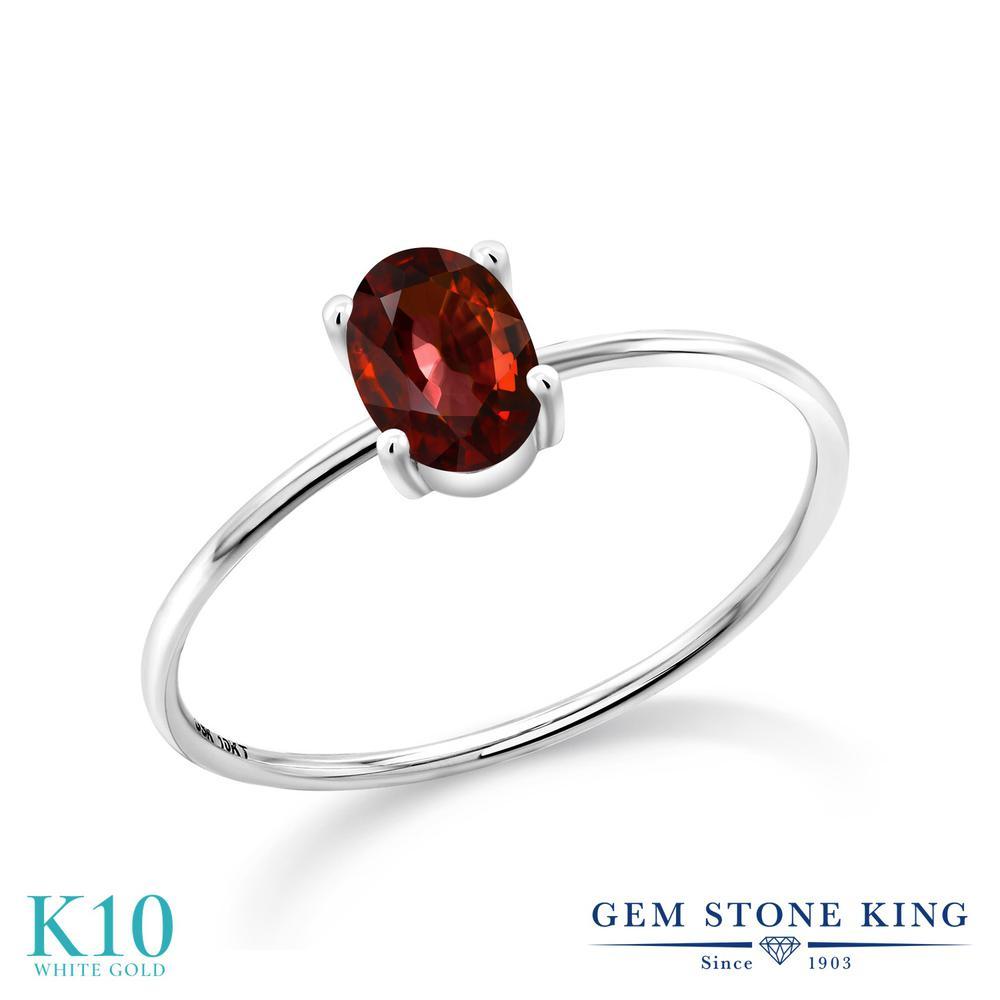 Gem Stone King 1.25カラット 天然石 ジルコン (チョコレートブラウン) 10金 ホワイトゴールド(K10) 指輪 リング レディース 大粒 一粒 シンプル ソリティア 金属アレルギー対応 誕生日プレゼント