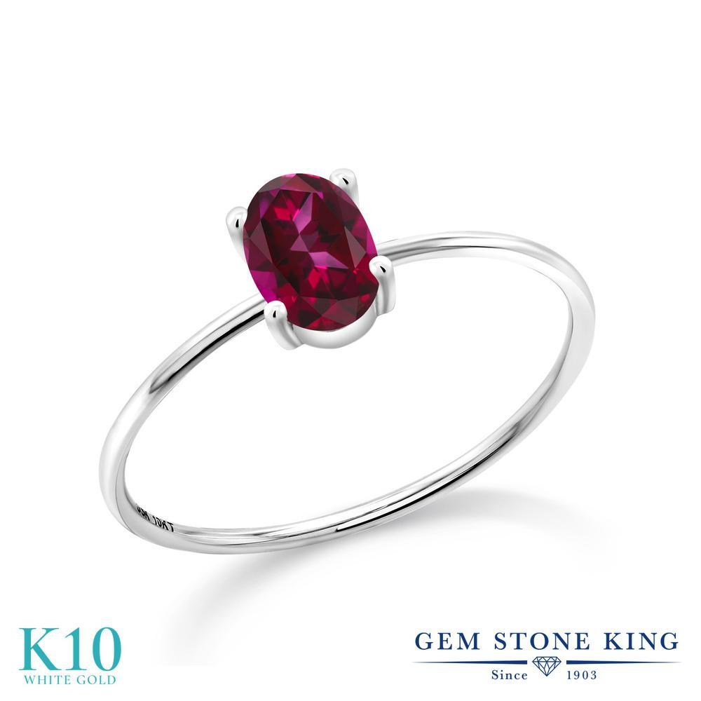1カラット 天然石 レッドトパーズ (スワロフスキー 天然石) 指輪 レディース リング 10金 ホワイトゴールド K10 ブランド おしゃれ 一粒 赤 大粒 シンプル 極細 ソリティア 婚約指輪 エンゲージリング