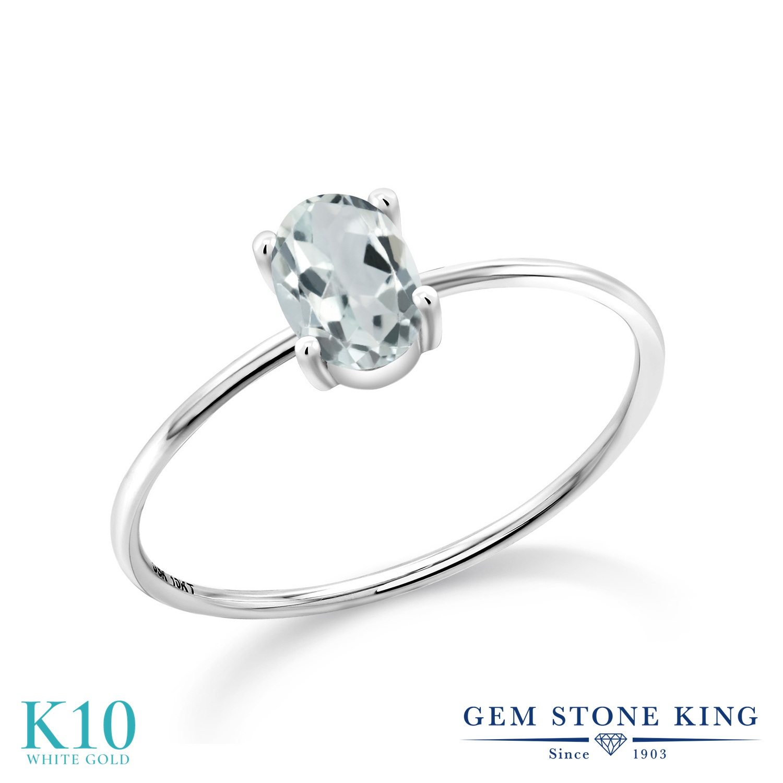 【10%OFF】 Gem Stone King 0.75カラット 天然 アクアマリン 指輪 リング レディース 10金 ホワイトゴールド K10 一粒 シンプル ソリティア 天然石 3月 誕生石 婚約指輪 エンゲージリング