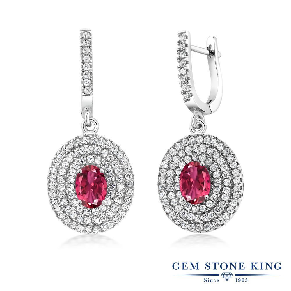 Gem Stone King 3.84カラット 天然 ピンクトルマリン シルバー925 ピアス レディース 大ぶり フープ 天然石 10月 誕生石 金属アレルギー対応 誕生日プレゼント