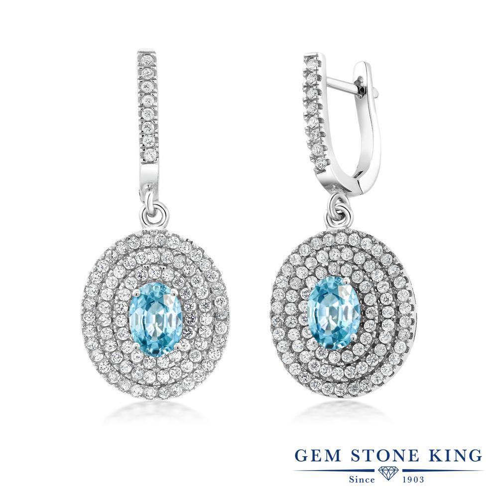 Gem Stone King 4.64カラット 天然石 ブルージルコン シルバー925 ピアス レディース 大粒 大ぶり フープ 12月 誕生石 金属アレルギー対応 誕生日プレゼント