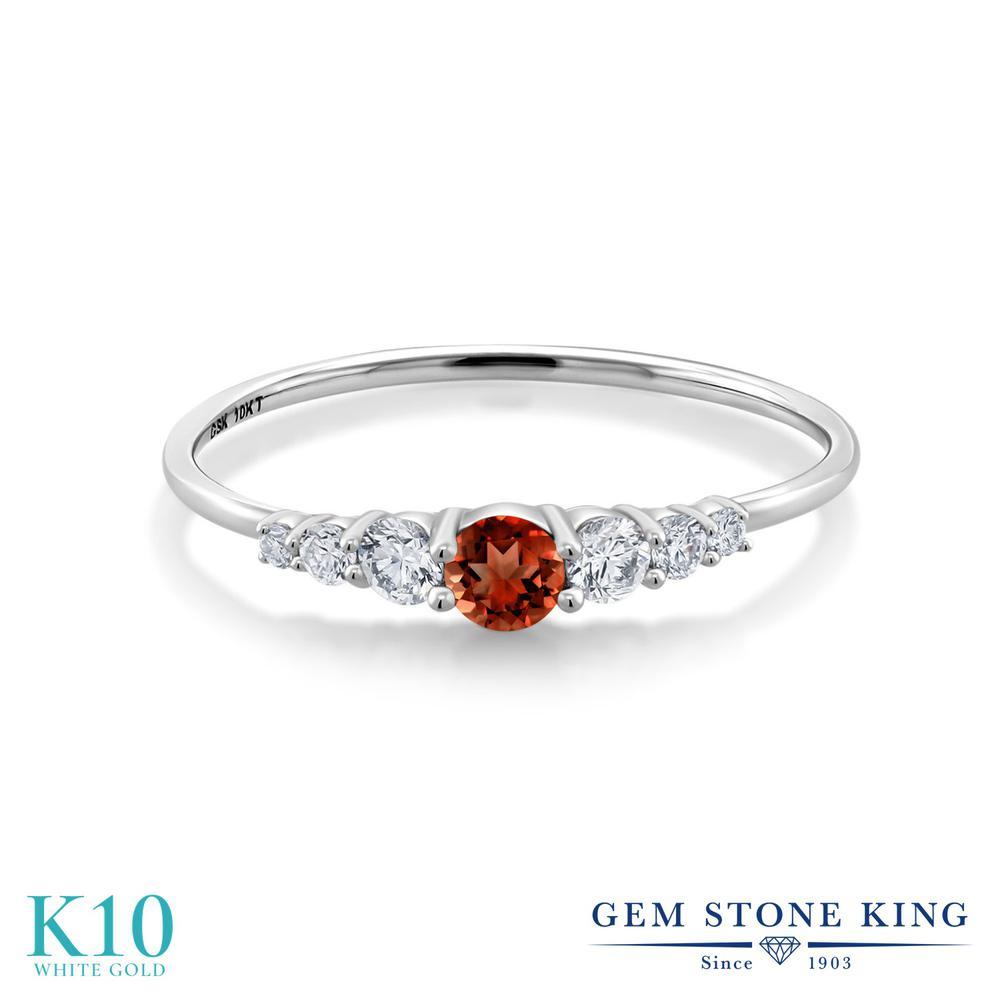 Gem Stone King 0.34カラット 天然 ガーネット 合成ダイヤモンド 10金 ホワイトゴールド(K10) 指輪 リング レディース 小粒 マルチストーン 華奢 細身 天然石 1月 誕生石 金属アレルギー対応 誕生日プレゼント