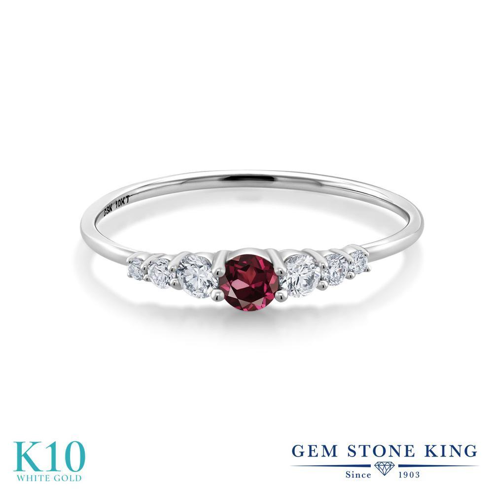 Gem Stone King 0.31カラット 天然 ロードライトガーネット 合成ダイヤモンド 10金 ホワイトゴールド(K10) 指輪 リング レディース 小粒 マルチストーン 華奢 細身 天然石 金属アレルギー対応 誕生日プレゼント