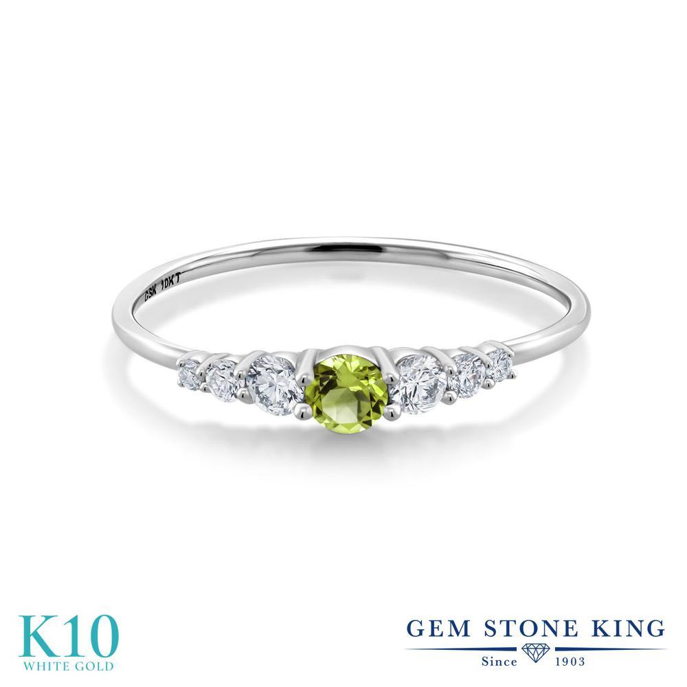 Gem Stone King 0.31カラット 天然石 ペリドット 合成ダイヤモンド 10金 ホワイトゴールド(K10) 指輪 リング レディース 小粒 マルチストーン 華奢 細身 8月 誕生石 金属アレルギー対応 誕生日プレゼント