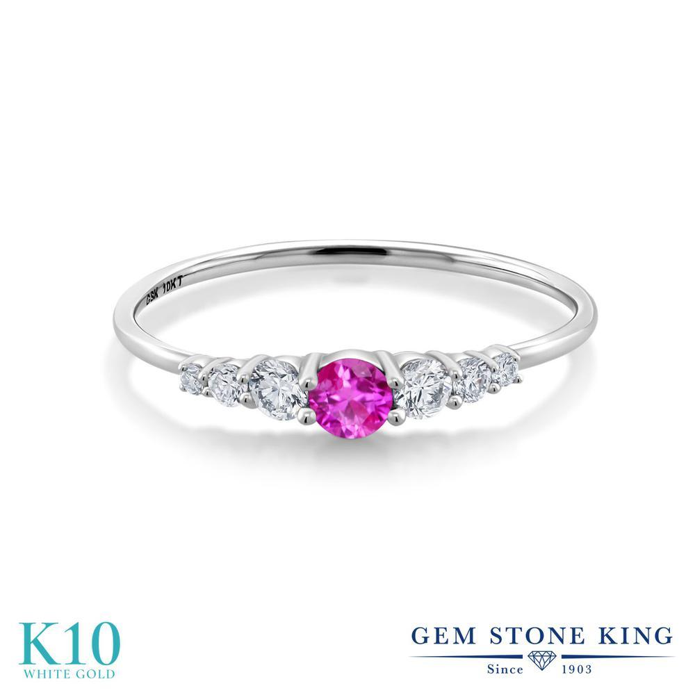 Gem Stone King 0.32カラット ピンクサファイア 合成ダイヤモンド 10金 ホワイトゴールド(K10) 指輪 リング レディース 小粒 マルチストーン 華奢 細身 9月 誕生石 金属アレルギー対応 誕生日プレゼント