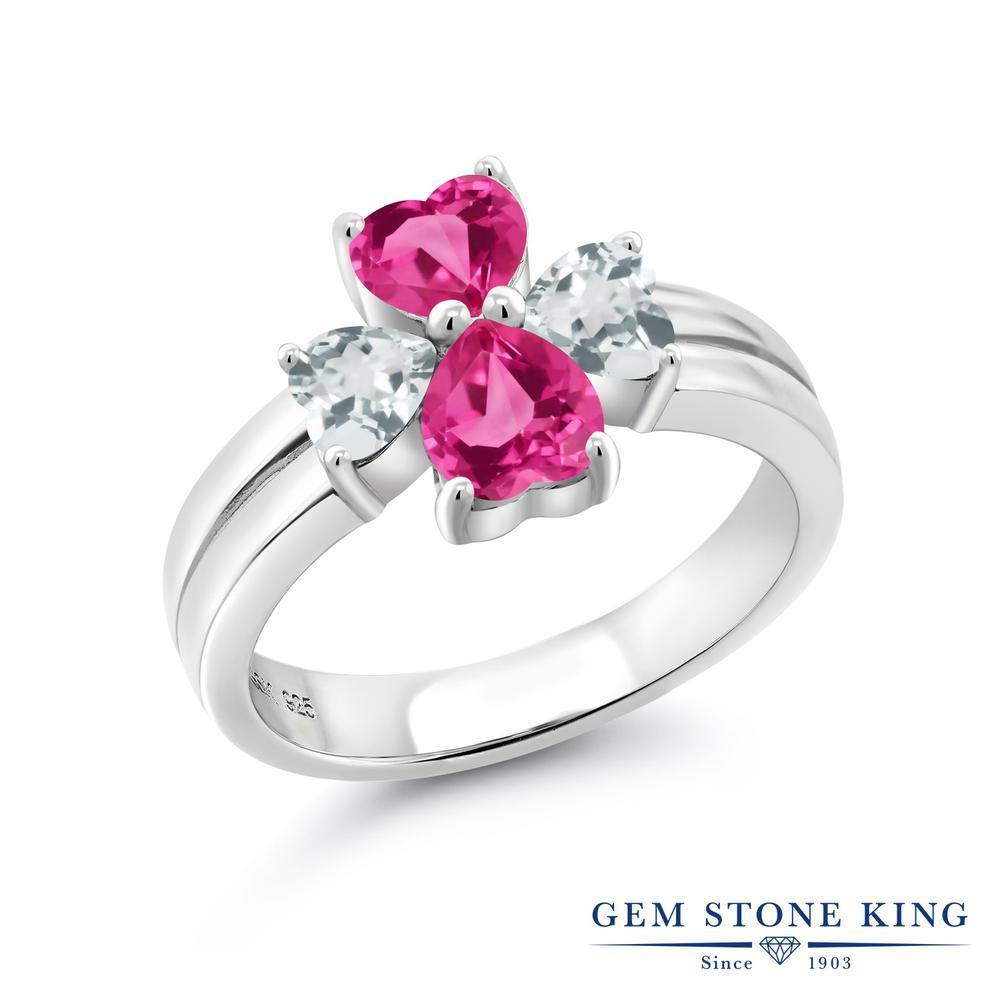 Gem Stone King 2.43カラット 合成ピンクサファイア 天然 アクアマリン 指輪 リング レディース シルバー925 カレッジリング 金属アレルギー対応