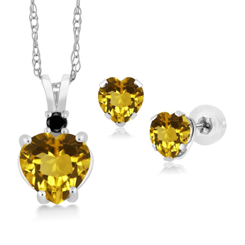 2.39カラット 天然 シトリン 天然ブラックダイヤモンド 14金 ホワイトゴールド(K14) ペンダント&ピアスセット レディース 大粒 天然石 11月 誕生石 金属アレルギー対応 誕生日プレゼント