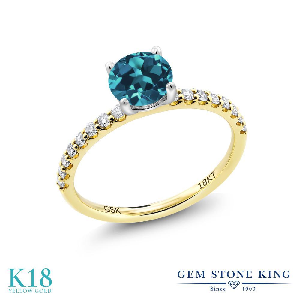 1.57カラット 天然 ロンドンブルートパーズ 合成ダイヤモンド 指輪 リング レディース 18金 イエローゴールド K18 大粒 マルチストーン 天然石 11月 誕生石 婚約指輪 エンゲージリング