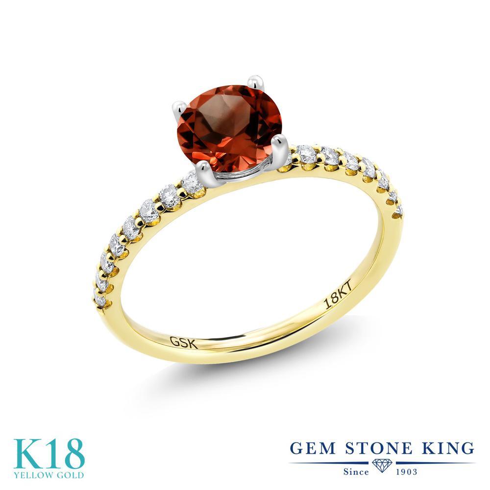 1.44カラット 天然 ガーネット 指輪 レディース リング 合成ダイヤモンド 18金 イエローゴールド K18 ブランド おしゃれ 赤 大粒 細身 マルチストーン 天然石 1月 誕生石 婚約指輪 エンゲージリング