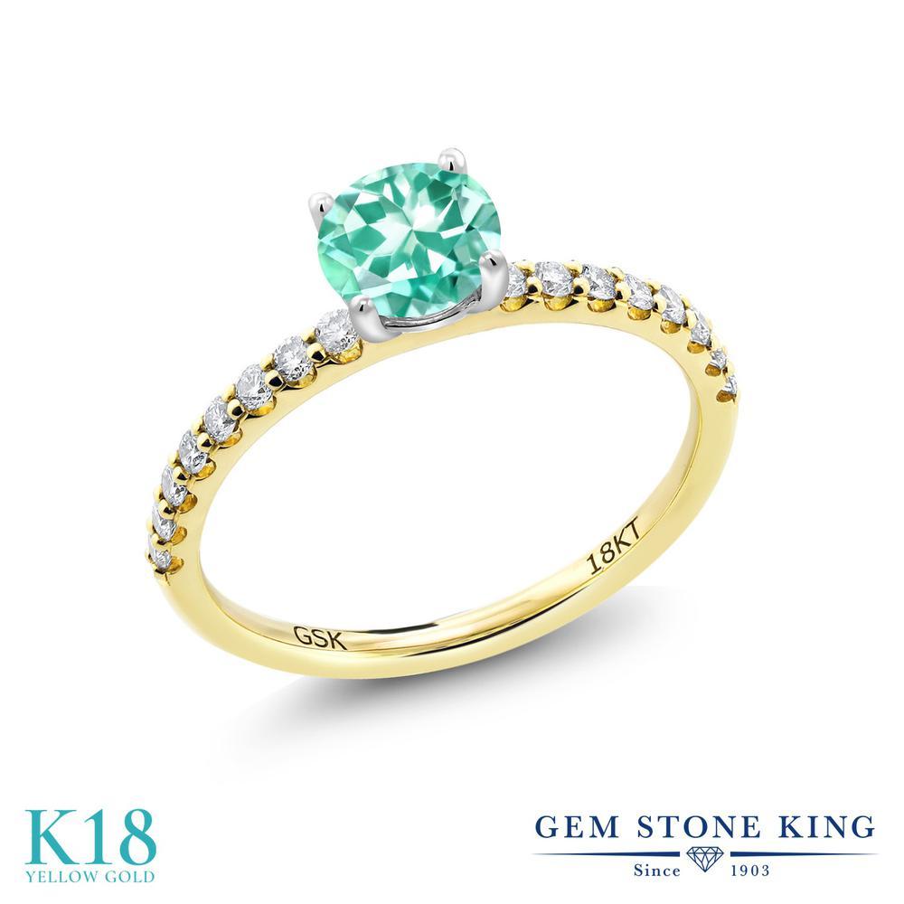 【10%OFF】 0.74カラット 天然 アパタイト 指輪 レディース リング 合成ダイヤモンド 18金 イエローゴールド K18 ブランド おしゃれ 青 小粒 細身 マルチストーン 天然石 婚約指輪 エンゲージリング