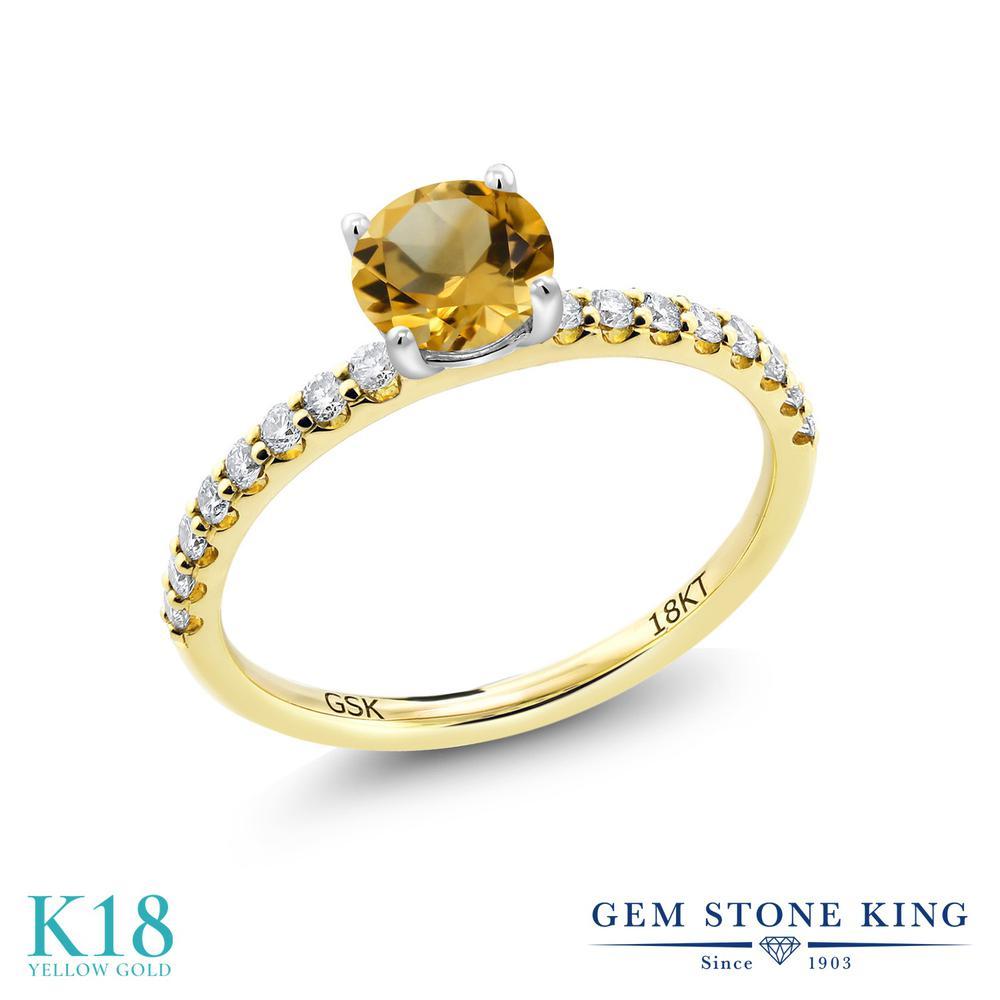 【10%OFF】 0.97カラット 天然 シトリン 指輪 レディース リング 合成ダイヤモンド 18金 イエローゴールド K18 ブランド おしゃれ 黄色 細身 マルチストーン 天然石 11月 誕生石 婚約指輪 エンゲージリング