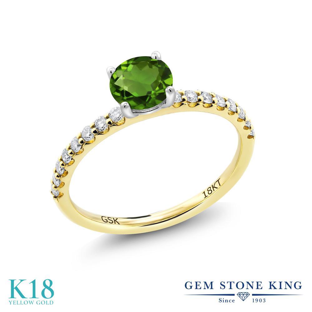 【10%OFF】 0.74カラット 天然 クロムダイオプサイド 指輪 レディース リング 合成ダイヤモンド 18金 イエローゴールド K18 ブランド おしゃれ 緑 小粒 細身 マルチストーン 天然石 婚約指輪 エンゲージリング