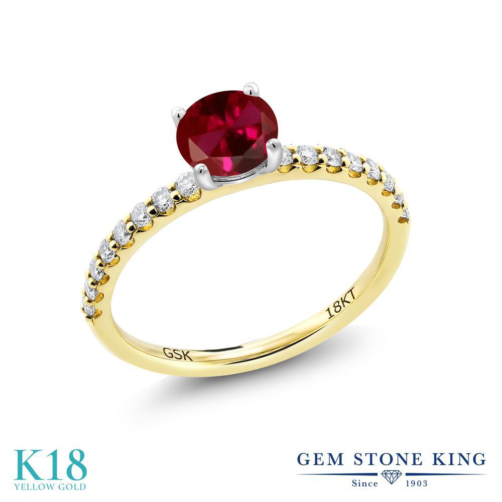 【10%OFF】 1.24カラット 合成ルビー 指輪 レディース リング 合成ダイヤモンド 18金 イエローゴールド K18 ブランド おしゃれ 赤 大粒 細身 マルチストーン 婚約指輪 エンゲージリング