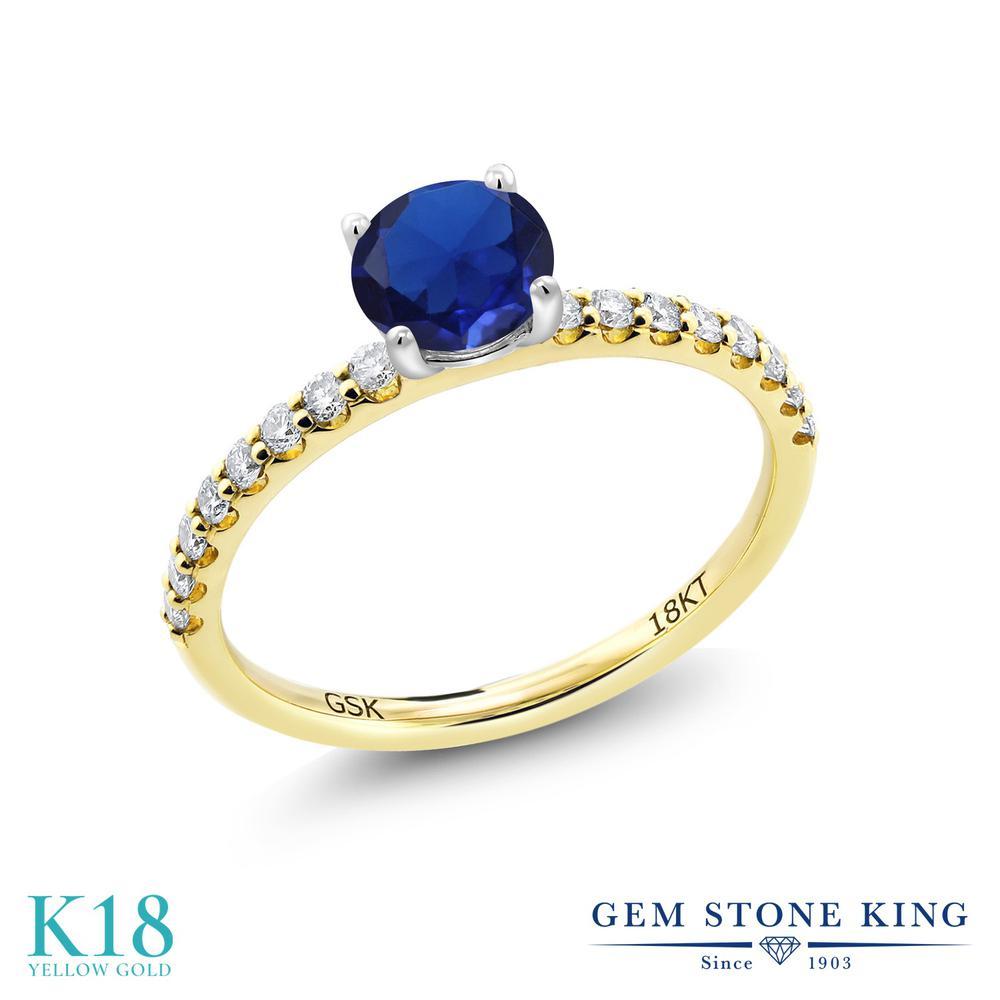 【10%OFF】 0.84カラット 合成サファイア 指輪 レディース リング 合成ダイヤモンド 18金 イエローゴールド K18 ブランド おしゃれ 青 細身 マルチストーン 婚約指輪 エンゲージリング