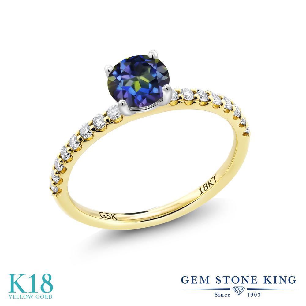 【10%OFF】 0.74カラット 天然石 ミスティックトパーズ (ブルー) 指輪 レディース リング 合成ダイヤモンド 18金 イエローゴールド K18 ブランド おしゃれ 青 小粒 細身 マルチストーン 婚約指輪 エンゲージリング