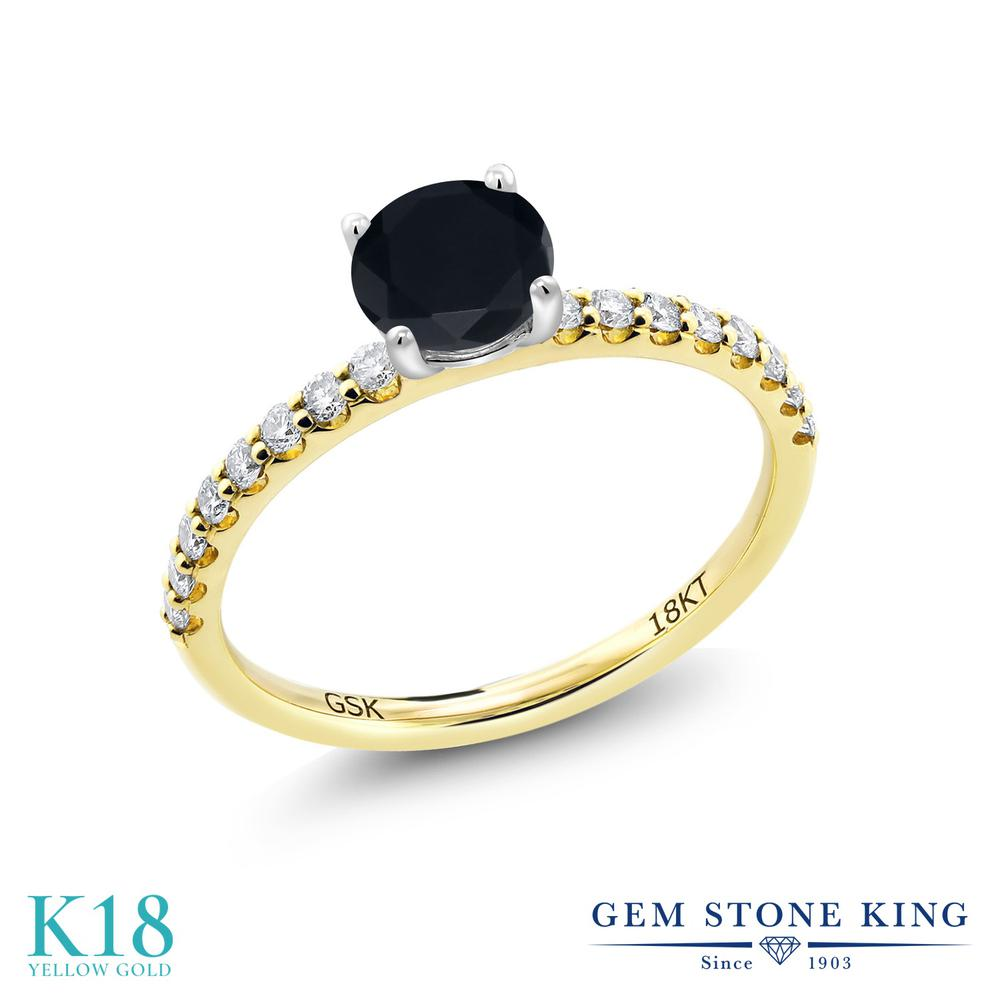 【10%OFF】 0.72カラット 天然 オニキス 指輪 レディース リング 合成ダイヤモンド 18金 イエローゴールド K18 ブランド おしゃれ 黒 小粒 細身 マルチストーン 天然石 8月 誕生石 婚約指輪 エンゲージリング