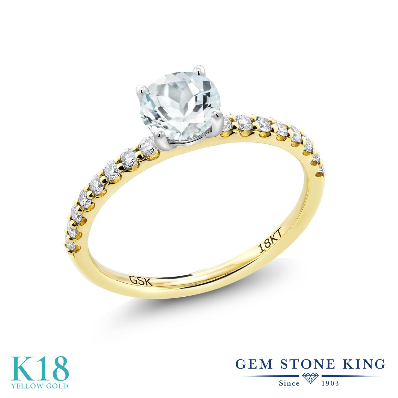 【10%OFF】 0.74カラット 天然 アクアマリン 指輪 レディース リング 合成ダイヤモンド 18金 イエローゴールド K18 ブランド おしゃれ 水色 小粒 細身 マルチストーン 天然石 3月 誕生石 婚約指輪 エンゲージリング