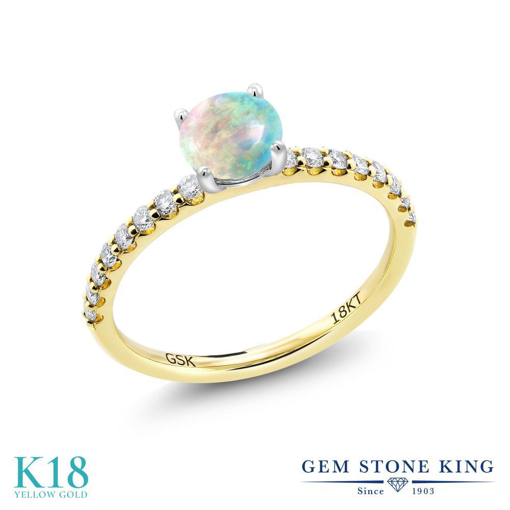 【10%OFF】 0.74カラット シミュレイテッド ホワイトオパール 指輪 レディース リング 合成ダイヤモンド 18金 イエローゴールド K18 ブランド おしゃれ 白 小粒 細身 マルチストーン 10月 誕生石 婚約指輪 エンゲージリング