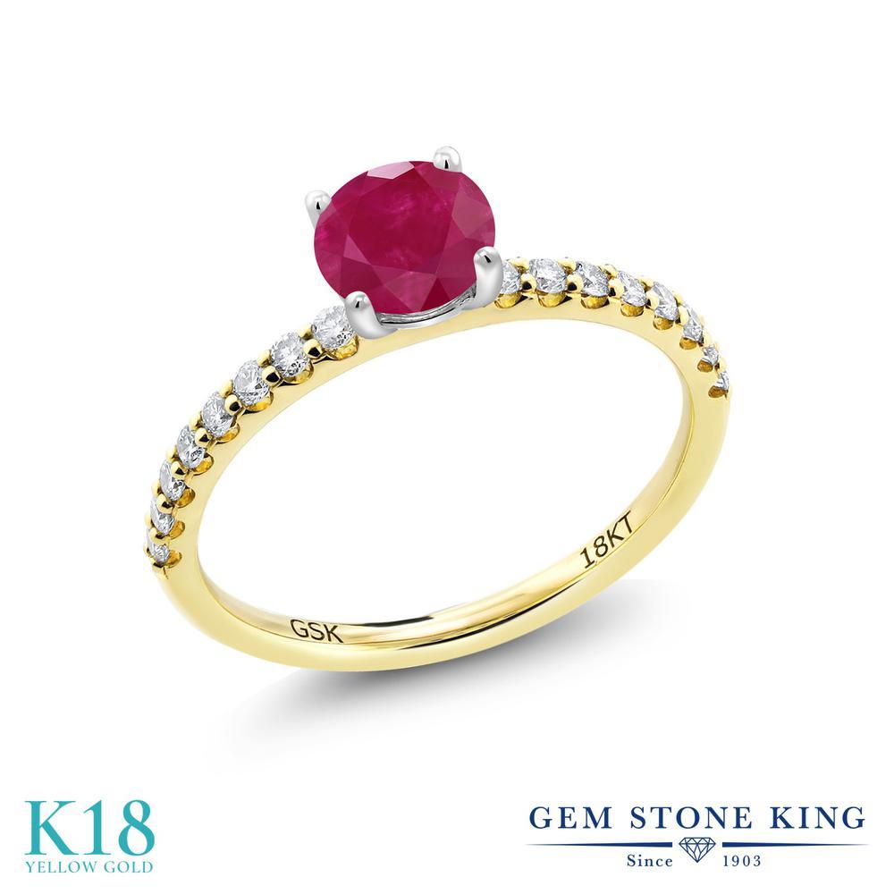 0.79カラット 天然 ルビー 指輪 レディース リング 合成ダイヤモンド 18金 イエローゴールド K18 ブランド おしゃれ 赤 細身 マルチストーン 天然石 7月 誕生石 婚約指輪 エンゲージリング