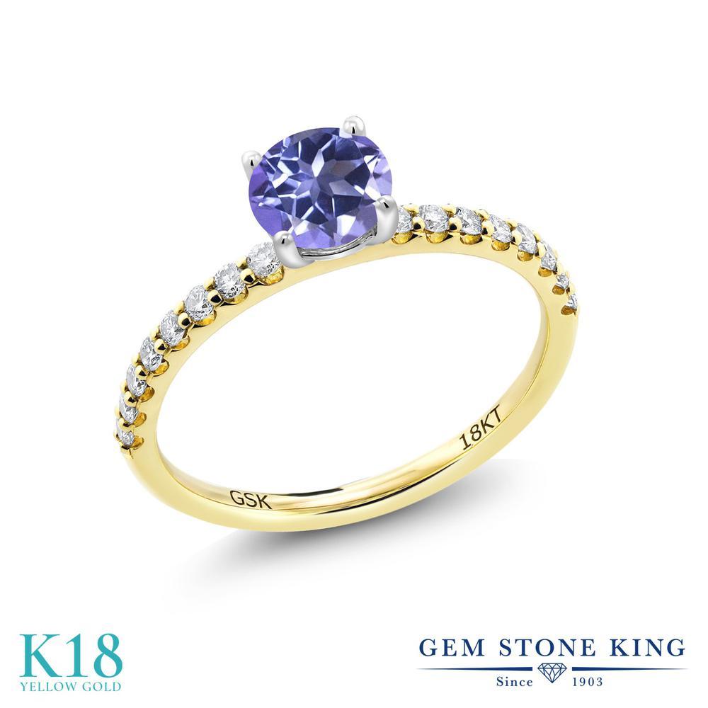 【10%OFF】 0.89カラット 天然 ミスティックトパーズ (タンザナイトブルー) 指輪 レディース リング 合成ダイヤモンド 18金 イエローゴールド K18 ブランド おしゃれ 青 細身 マルチストーン 天然石 婚約指輪 エンゲージリング