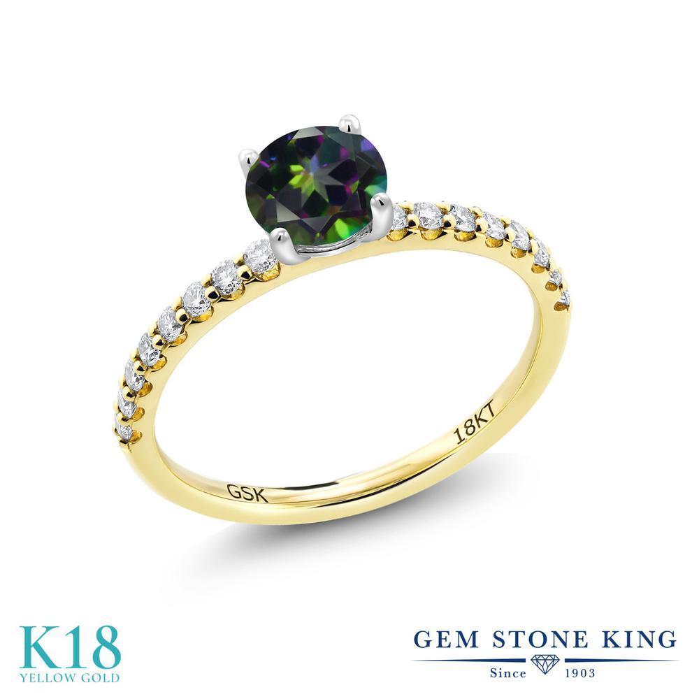 【10%OFF】 0.79カラット 天然石 ミスティックトパーズ (グリーン) 指輪 レディース リング 合成ダイヤモンド 18金 イエローゴールド K18 ブランド おしゃれ 緑 細身 マルチストーン 婚約指輪 エンゲージリング