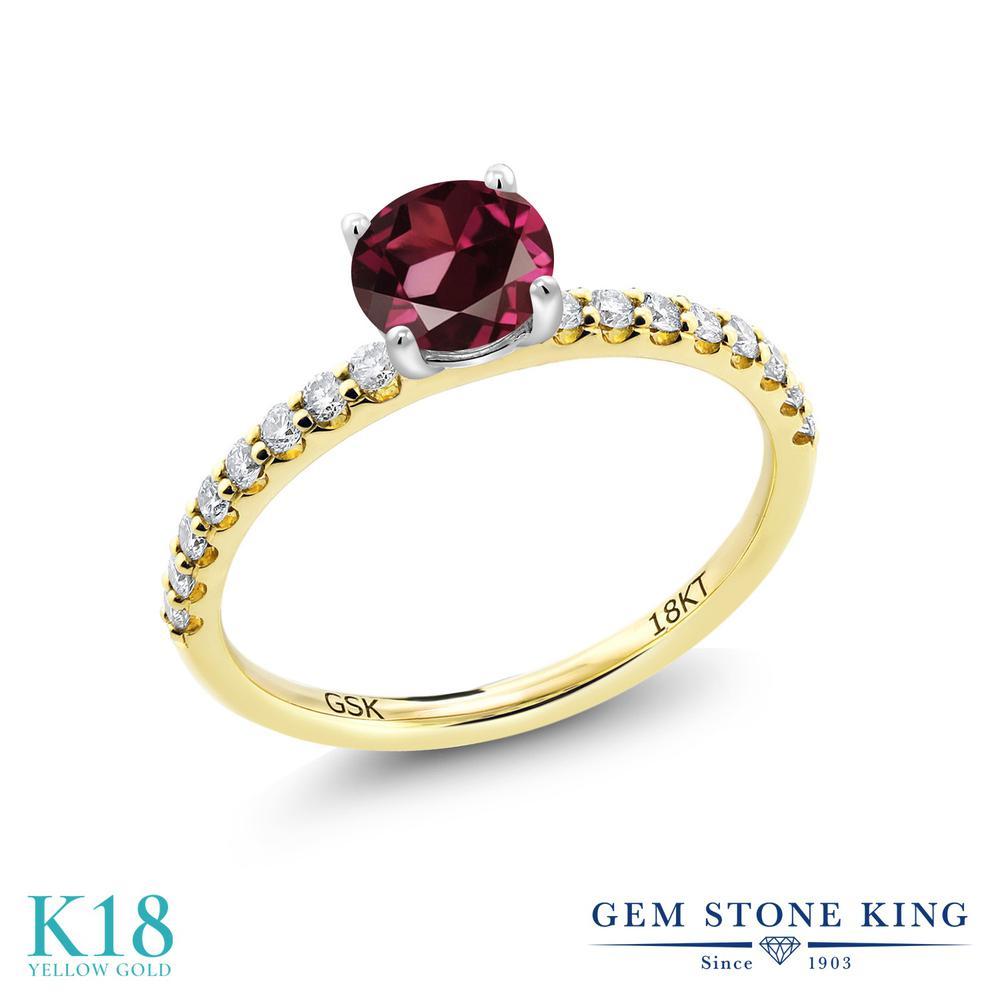 【10%OFF】 0.84カラット 天然 ロードライトガーネット 指輪 レディース リング 合成ダイヤモンド 18金 イエローゴールド K18 ブランド おしゃれ 赤 細身 マルチストーン 天然石 婚約指輪 エンゲージリング