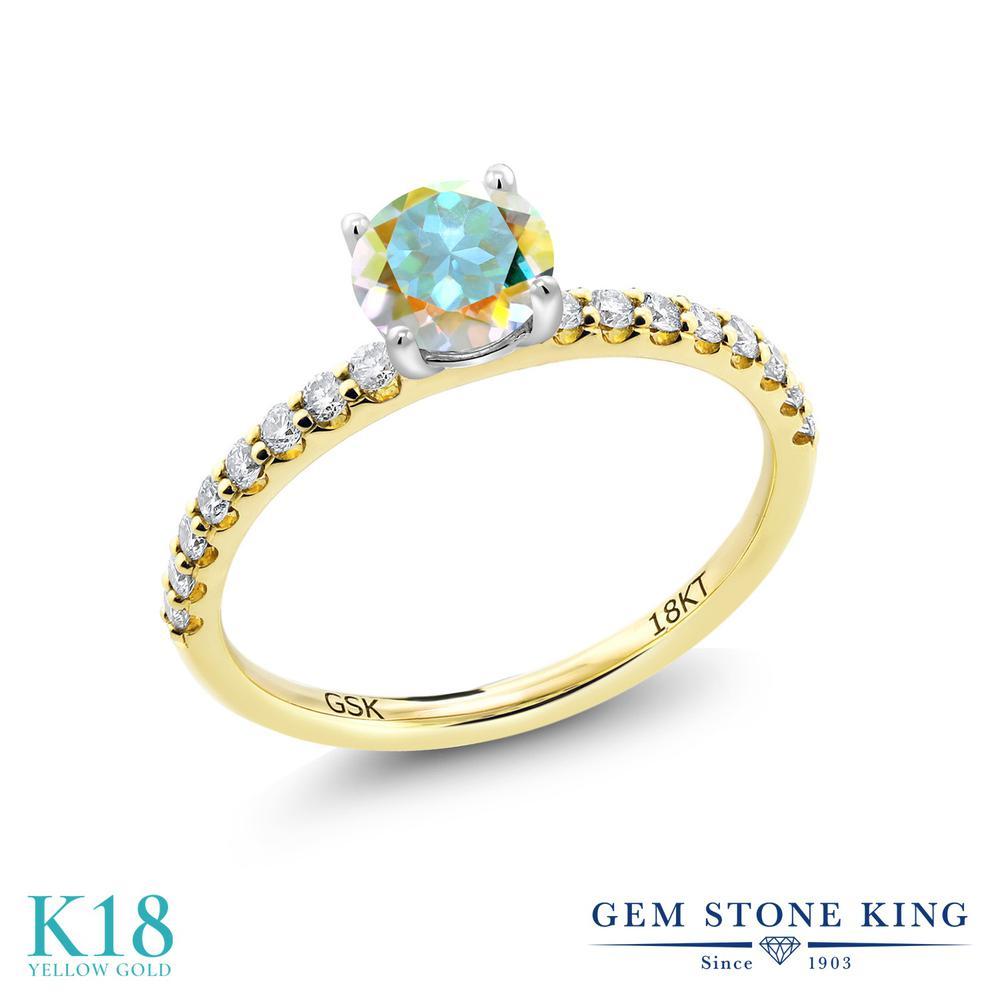【10%OFF】 0.79カラット 天然石 ミスティックトパーズ (マーキュリーミスト) 指輪 レディース リング 合成ダイヤモンド 18金 イエローゴールド K18 ブランド おしゃれ 細身 マルチストーン 婚約指輪 エンゲージリング
