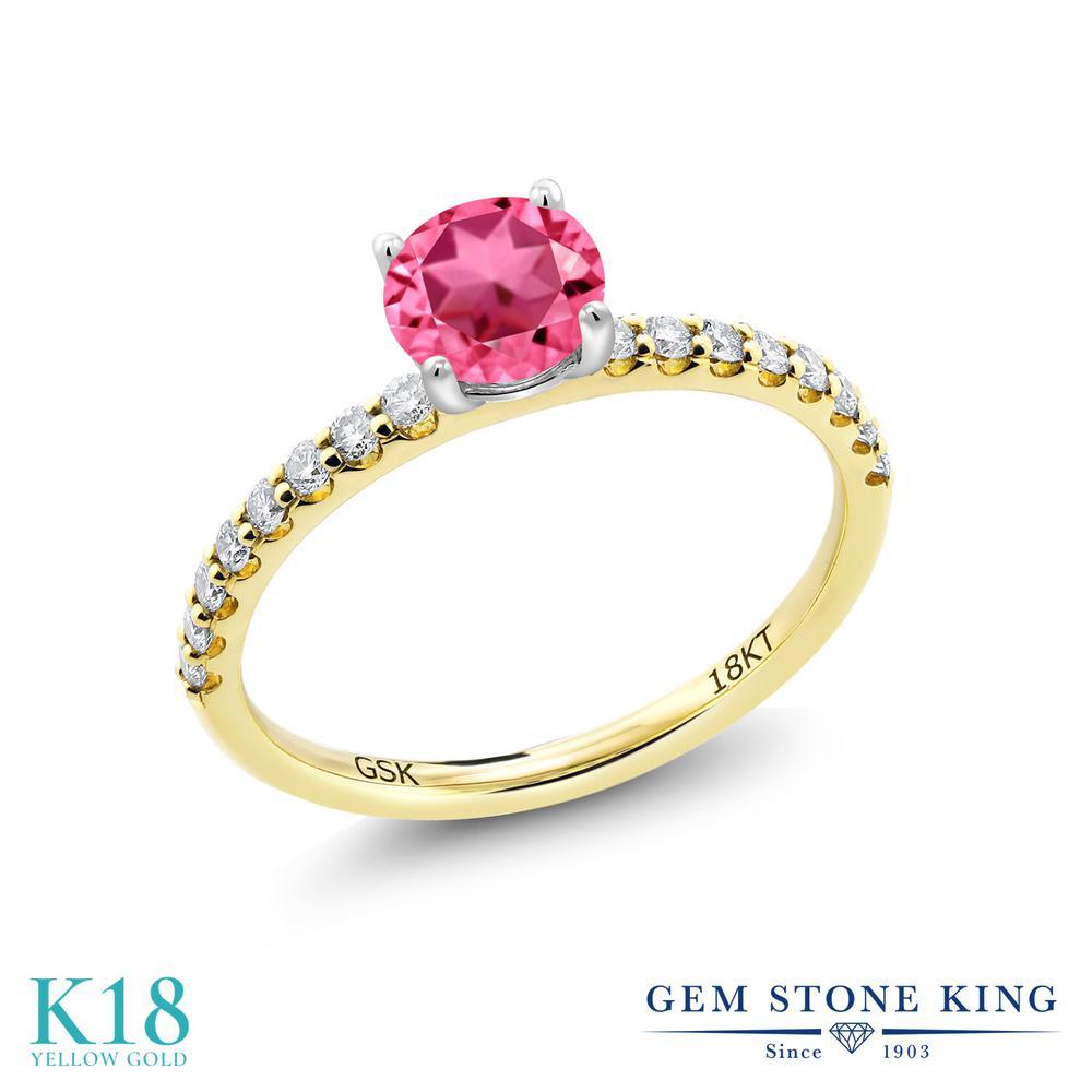 【10%OFF】 0.89カラット 天然石 ピンクトパーズ (スワロフスキー 天然石) 指輪 レディース リング 合成ダイヤモンド 18金 イエローゴールド K18 ブランド おしゃれ 細身 マルチストーン 婚約指輪 エンゲージリング