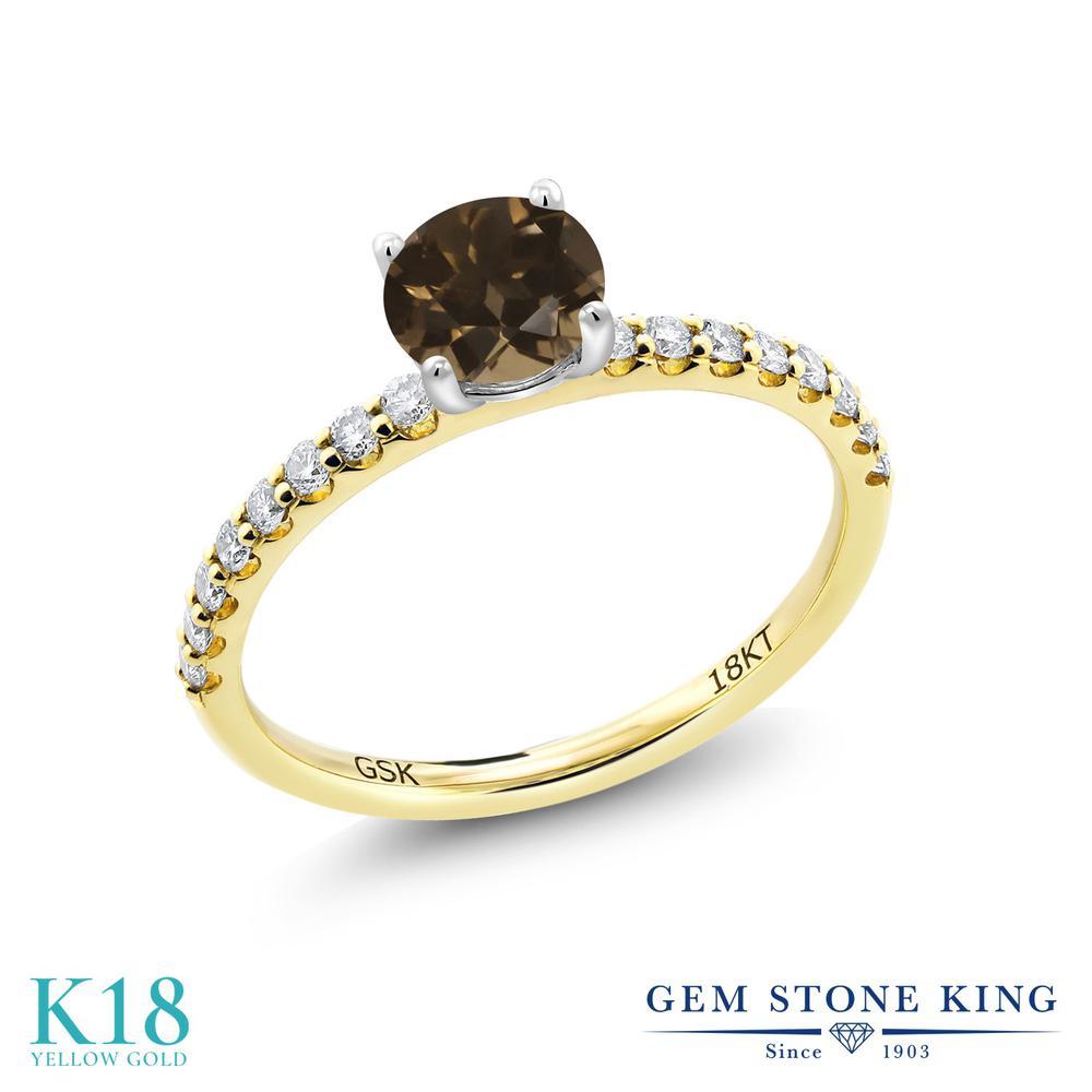 【10%OFF】 0.74カラット 天然 スモーキークォーツ (ブラウン) 指輪 レディース リング 合成ダイヤモンド 18金 イエローゴールド K18 ブランド おしゃれ 茶色 小粒 細身 マルチストーン 天然石 婚約指輪 エンゲージリング