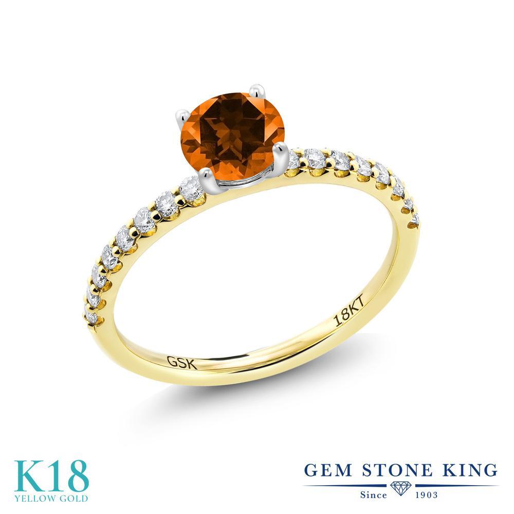 【10%OFF】 0.79カラット 天然石 トパーズ ポピー (スワロフスキー 天然石) 指輪 レディース リング 合成ダイヤモンド 18金 イエローゴールド K18 ブランド おしゃれ 細身 マルチストーン 婚約指輪 エンゲージリング