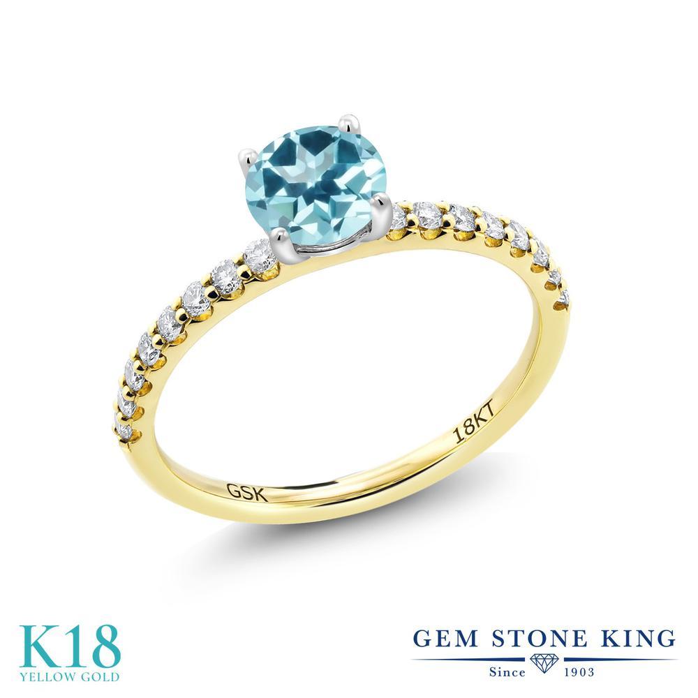 【10%OFF】 0.86カラット 天然石 アイスブルートパーズ (スワロフスキー 天然石) 指輪 レディース リング 合成ダイヤモンド 18金 イエローゴールド K18 ブランド おしゃれ 細身 マルチストーン 婚約指輪 エンゲージリング