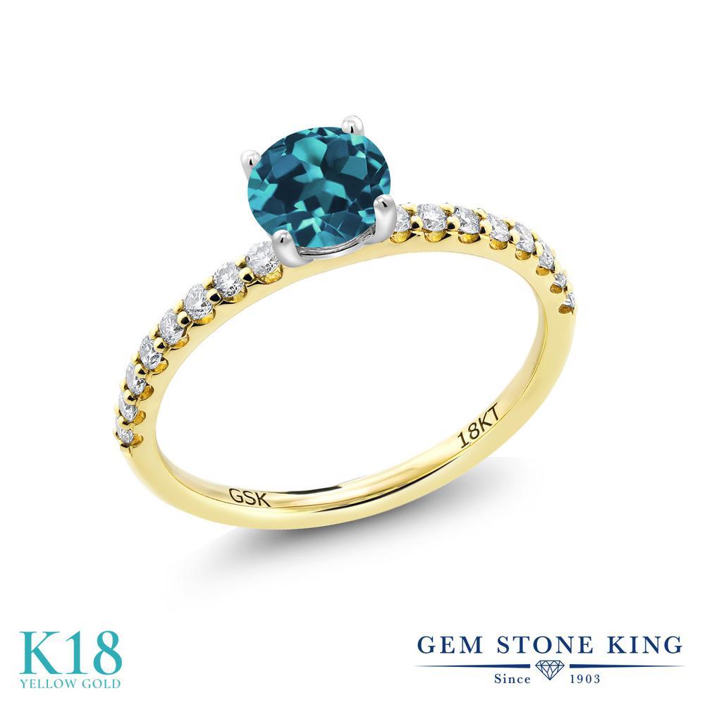 【10%OFF】 0.94カラット 天然 ロンドンブルートパーズ 指輪 レディース リング 合成ダイヤモンド 18金 イエローゴールド K18 ブランド おしゃれ 細身 マルチストーン 天然石 11月 誕生石 婚約指輪 エンゲージリング