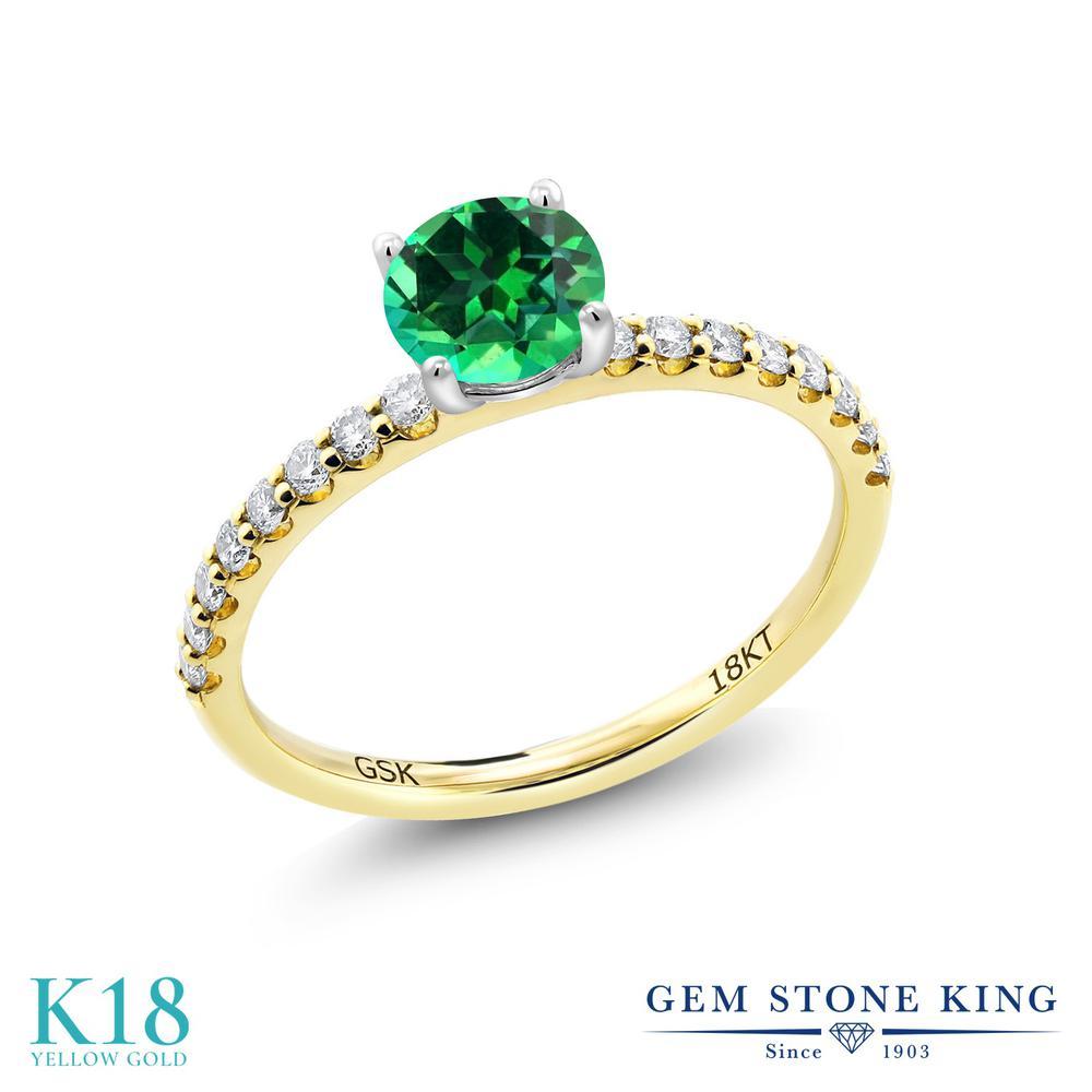 【10%OFF】 0.89カラット 天然石 トパーズ レインフォレスト (スワロフスキー 天然石) 指輪 レディース リング 合成ダイヤモンド 18金 イエローゴールド K18 ブランド おしゃれ 緑 細身 マルチストーン 婚約指輪 エンゲージリング