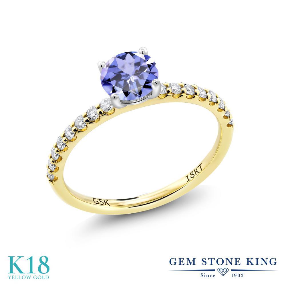 【10%OFF】 0.7カラット 天然石 タンザナイト 指輪 レディース リング 合成ダイヤモンド 18金 イエローゴールド K18 ブランド おしゃれ 青 小粒 細身 マルチストーン 12月 誕生石 婚約指輪 エンゲージリング