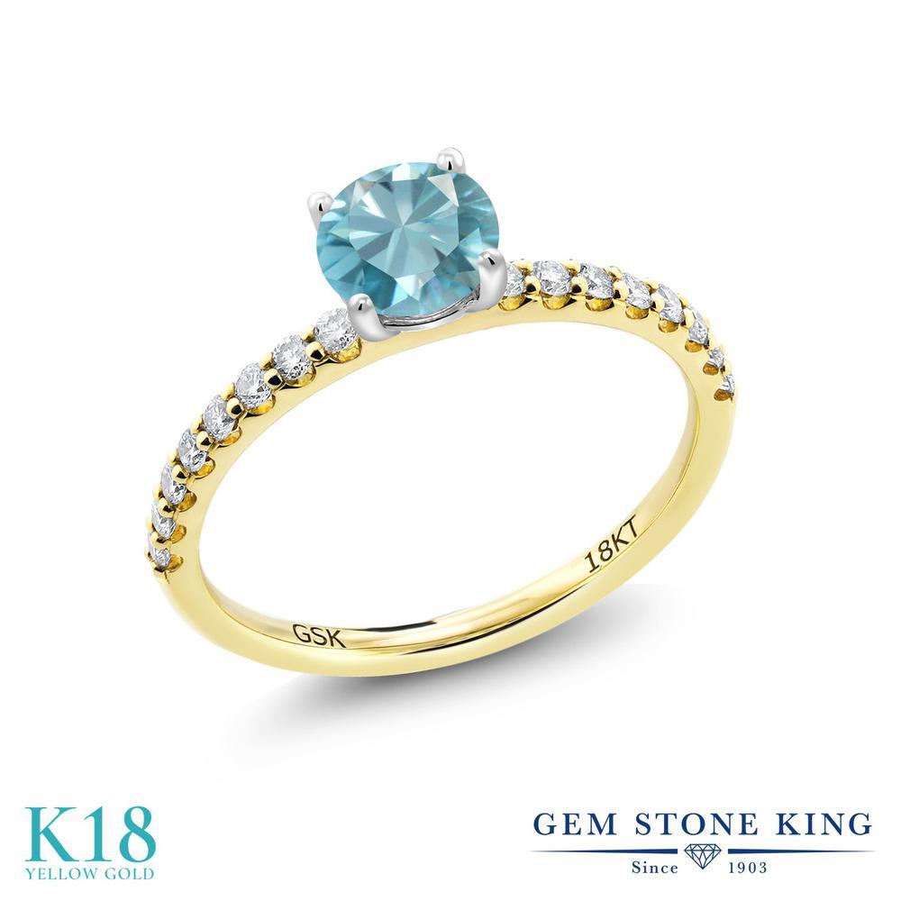 【10%OFF】 1.09カラット 天然石 ブルージルコン 指輪 レディース リング 合成ダイヤモンド 18金 イエローゴールド K18 ブランド おしゃれ 青 細身 マルチストーン 12月 誕生石 婚約指輪 エンゲージリング
