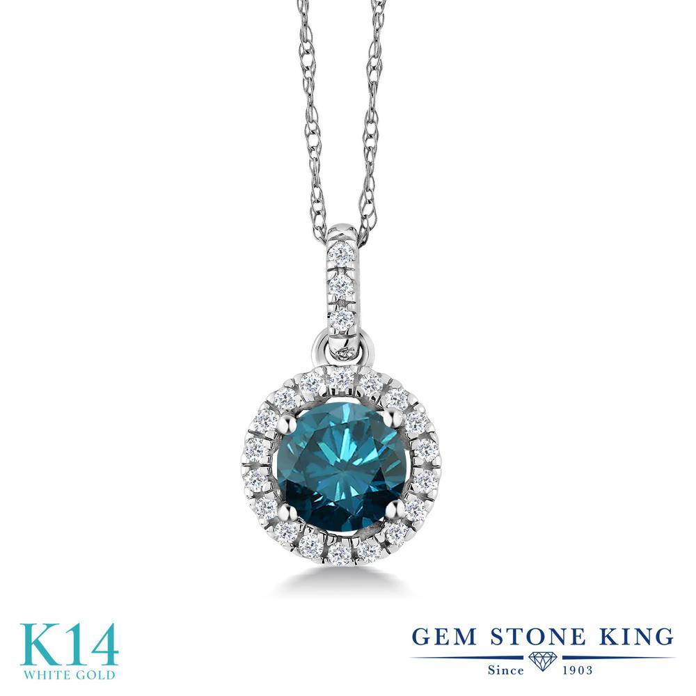 0.7カラット 天然 ブルーダイヤモンド ネックレス レディース 14金 ホワイトゴールド K14 ペンダント ブルー ダイヤ 天然石 4月 誕生石 プレゼント 女性 彼女 妻 誕生日