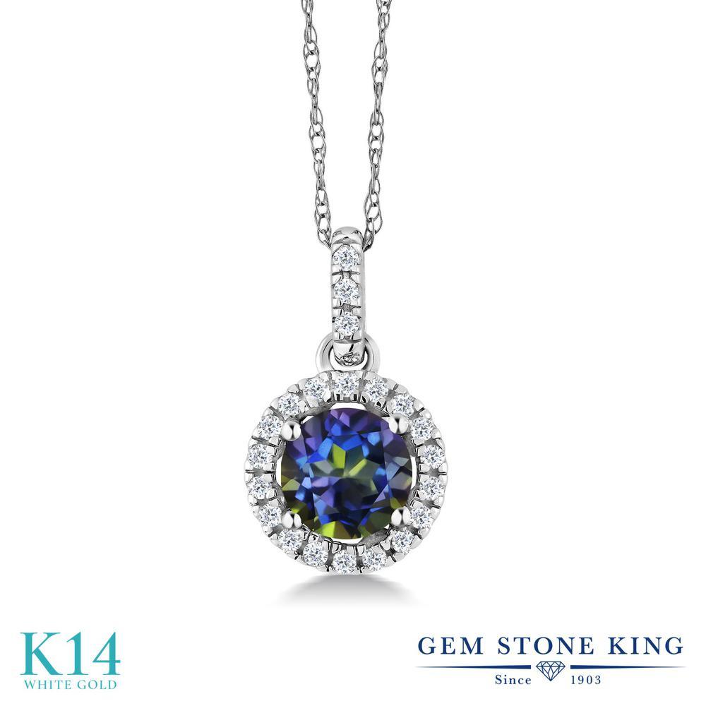 【10%OFF】 Gem Stone King 0.65カラット 天然石 ミスティックトパーズ (ブルー) 天然 ダイヤモンド ネックレス レディース 14金 ホワイトゴールド K14 ペンダント 小粒 クリスマスプレゼント 女性 彼女 妻 誕生日