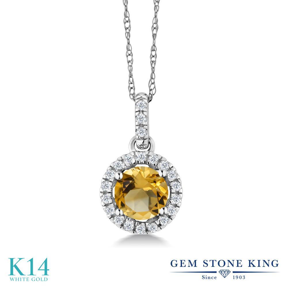 【10%OFF】 Gem Stone King 0.87カラット 天然 シトリン ダイヤモンド ネックレス レディース 14金 ホワイトゴールド K14 ペンダント 天然石 11月 誕生石 クリスマスプレゼント 女性 彼女 妻 誕生日