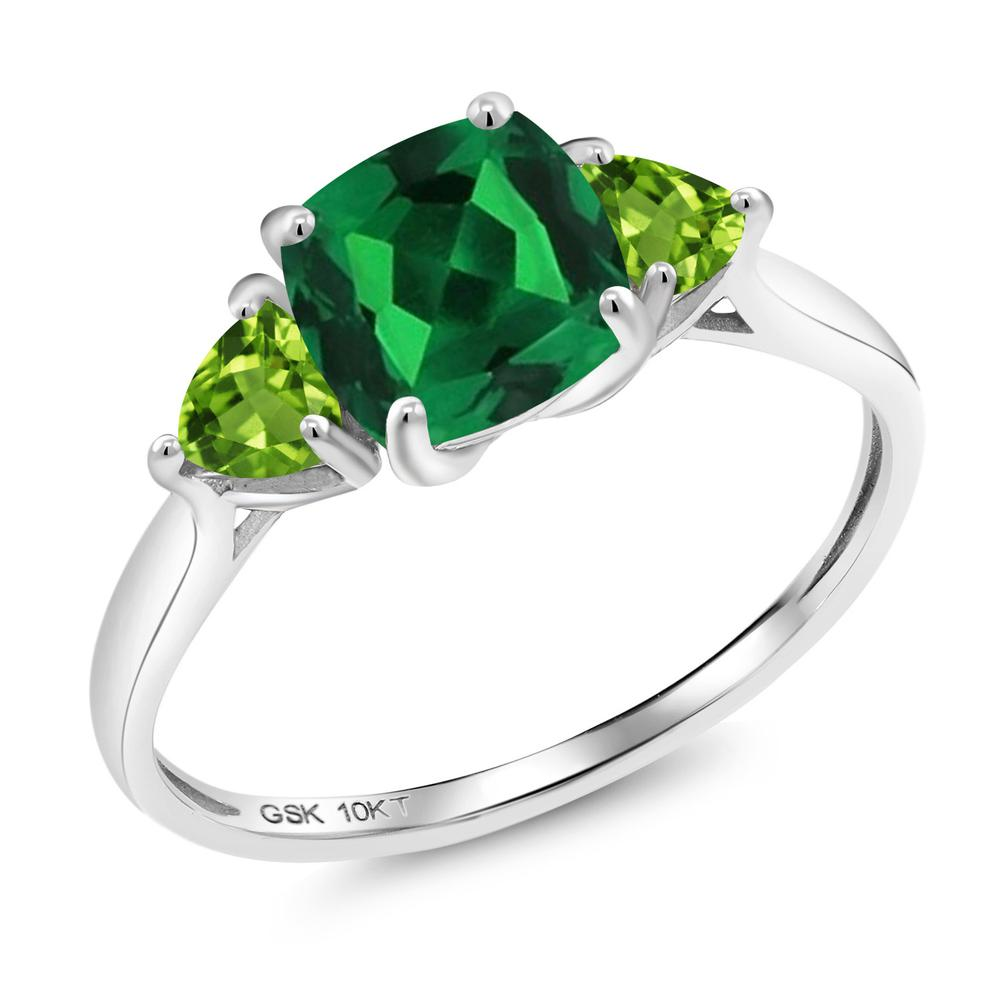 【10%OFF】 Gem Stone King 1.17カラット ナノエメラルド 天然石 ペリドット 指輪 リング レディース 10金 ホワイトゴールド K10 シンプル スリーストーン 婚約指輪 エンゲージリング